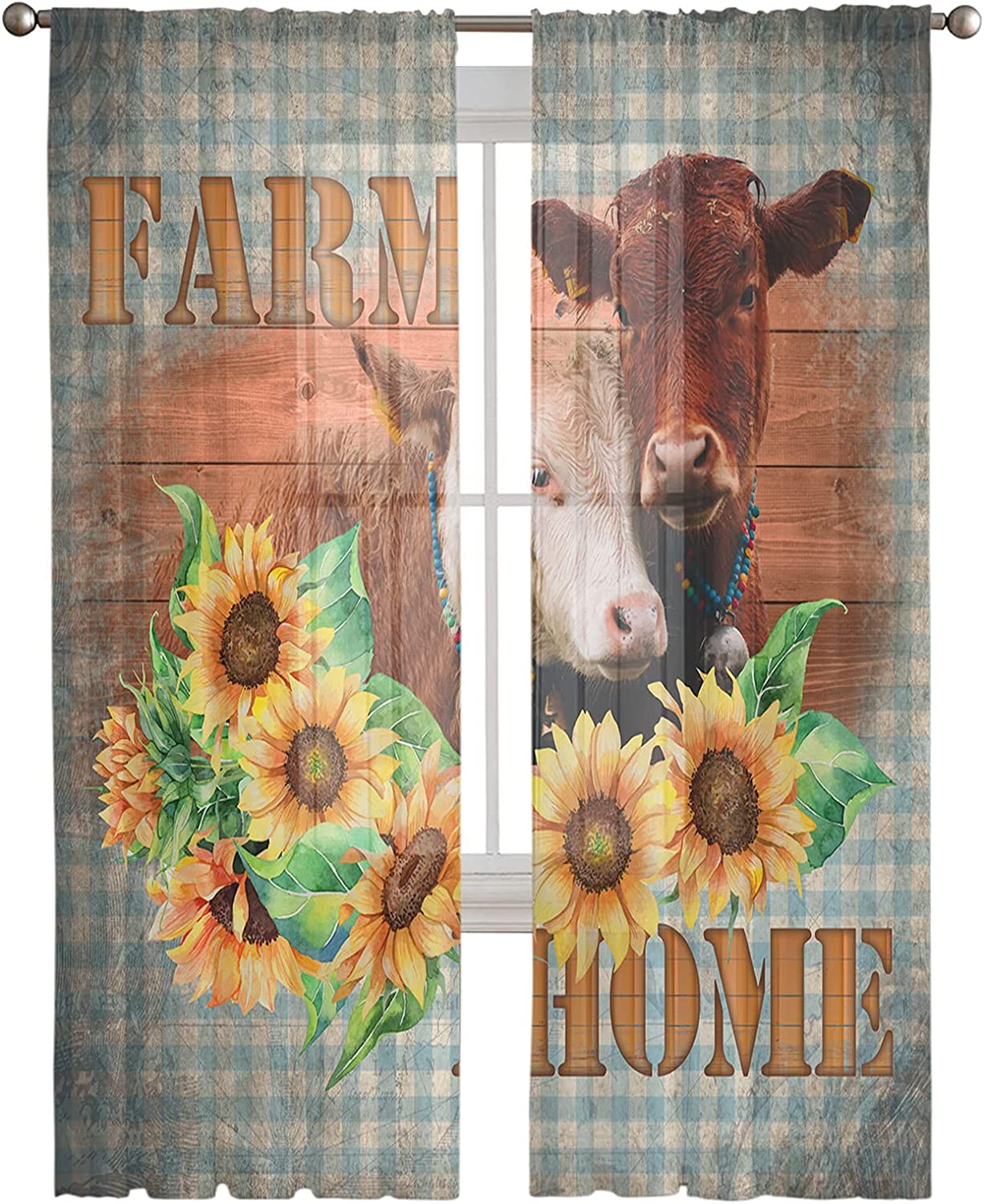 Sheer Curtain Panels Farm Max 46% OFF Home Window Chiffon Al sold out. Voile Cow