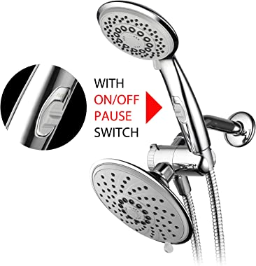 HotelSpa 6''/4'' Ultra-Luxury 3 way Rainfall Shower-Head/Handheld Shower Gray Spiral Combo w/Patented ON/OFF Pause Switch and 5-7 foot Stretchable Stainless Steel Hose