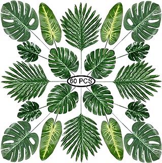 comprar comparacion PietyPet Hojas de Palma Artificiales, 60 Piezas 5 Tipos Verde Plantas Artificiales, Falso Hojas de Monstera con Tallos par...