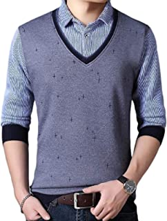 Fiere Mens Fit Warm Fitted Slim Sleeve Long Fleece Fake Two Piece Top Shirt