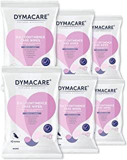 DYMACARE 5 in 1 Continence Care Wipes | Adult Scented Premium Disposable Incontinence Cloths | Skin Cleansing Wipes with B...