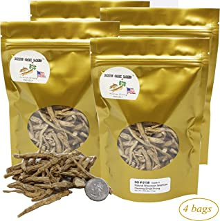 DABC OAK LAND 16OZ=453g/4 Bags American Ginseng Root Fiber,American Wisconsin Farmed Ginseng Root   美国威斯康辛州西洋参须 花旗参须 促销装   Hand-Selected Cultivated Ginseng for Tea or Soup or Powder 0158# Bag
