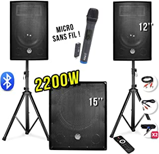"""Pack sono 2200W - Enceintes 12"""" + Caisson 15"""" + Pieds + Micro UHF - USB/BLUETOOTH + câbles"""