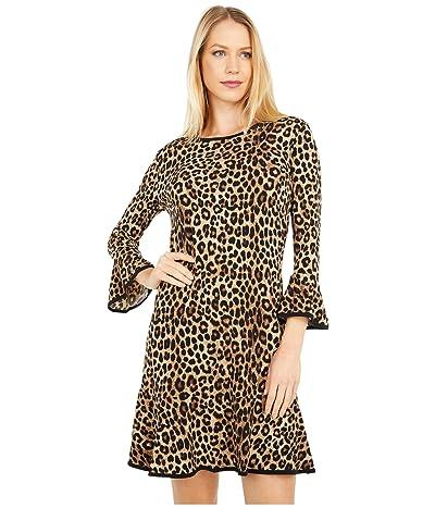 MICHAEL Michael Kors Petite Cheetah Flounce Dress (Dark Camel) Women