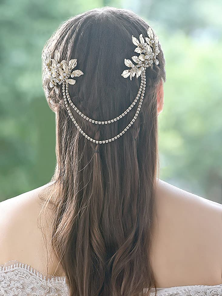 Yean Wedding Hair Comb Leaves Rhinestones Bridal Hair Comb Accessories for Bride and Bridesmaid (Gold)