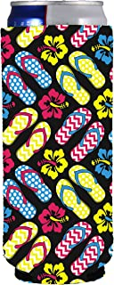 Flip Flop Pattern Neoprene Collapsible Slim 12oz Can Coolie (1)