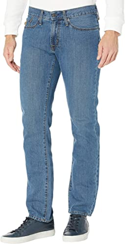 Slim Straight Five-Pocket Jeans in Blue Denim