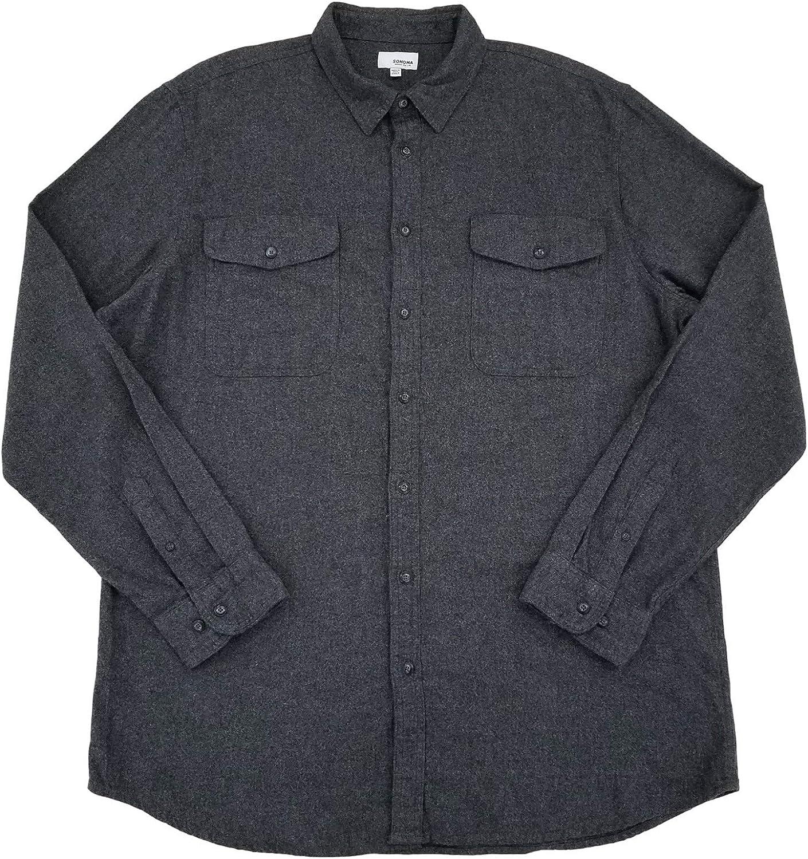 Mens Dark Gray Heather Long Sleeve Button-Down Flannel Shirt 2XLT