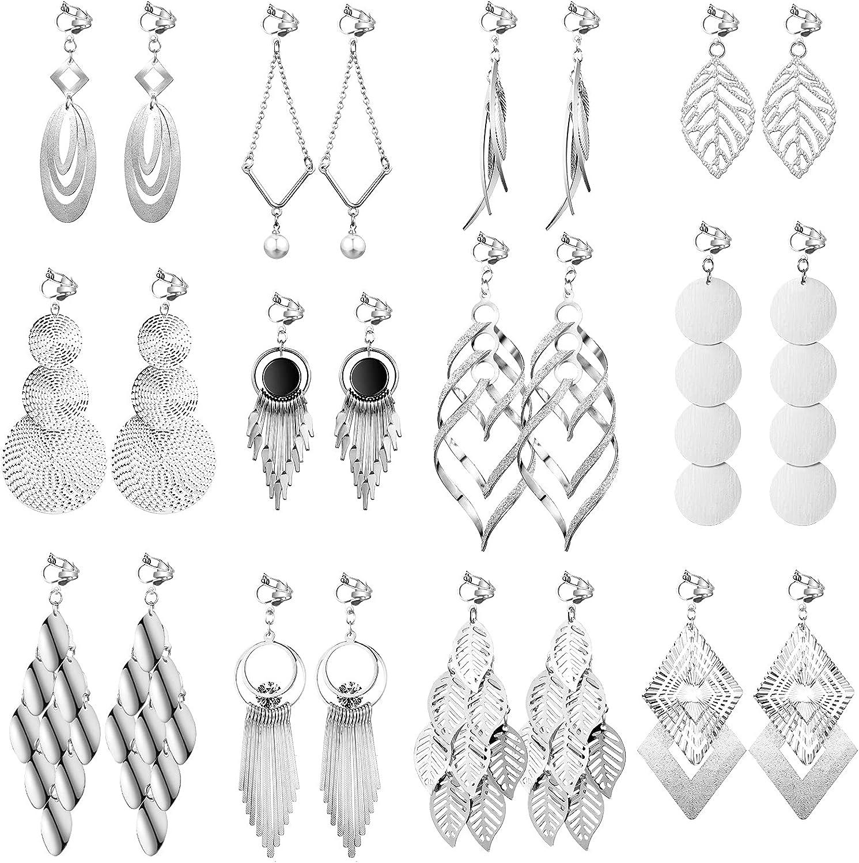 12 Pairs Clip on Drop Dangle Earrings Set Bohemian Tassel Pendant Clip Earrings Plated Ear Clips Non-Piercing Pendant Earrings for Women