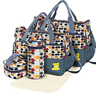 GPCT Diaper Bag Tote, Modern Baby Bag for Girls and Boys, 5 Piece Set Including Large Medium Tote Bag, Food Bag, Bottle Bag and Changing Pad, with Shoulder Straps, Best Baby Shower Gift for Mom & Dad