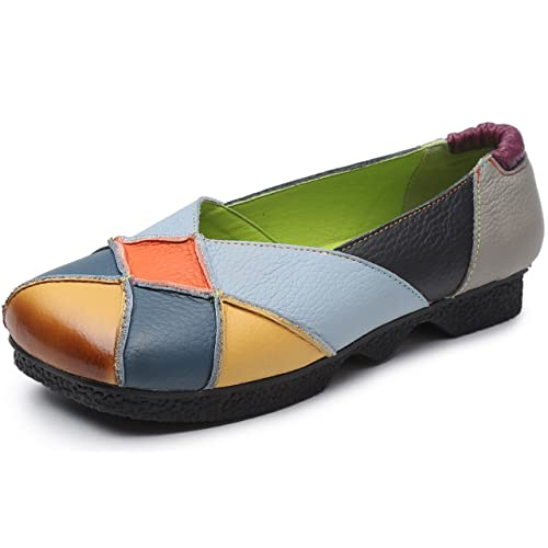Clarsunny Womens Ethnic Genuine Leather Handmade Flat Multicolor Square Toes Loafers