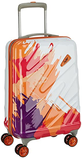 Skybags Polycarbonate 44 Ltrs White Orange Hardsided Check in Luggage  mirage55mog  Suitcases   Trolley Bags