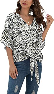 Womens Floral Tie Front Chiffon Blouses V Neck Batwing Short Sleeve Summer Tops Shirts