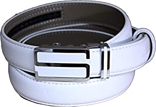 Lunghezza 115 cm Cintura da donna con fibbia automatica MONETTI FIA Cintura in pelle bianca vera pelle molto facile da accorciare Larghezza 2,5 cm.