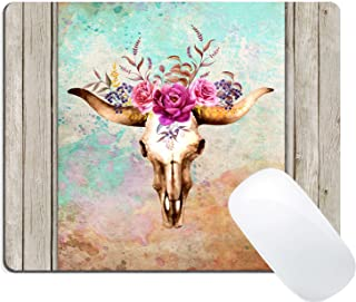 Wknoon Mouse Pad Colorful Watercolor Floral Bull Skull Oil Painting on Retro Wood Art Custom Design (Vintage Deer with Flowers Dead Art)