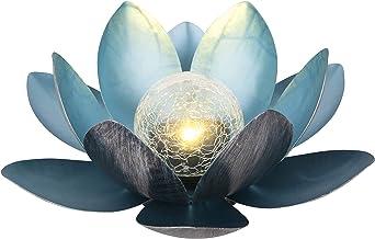 Dehner 4398715 lampa solarna Lotus, Ø 27,5 cm, wysokość 12 cm, metal, srebrna/niebieska