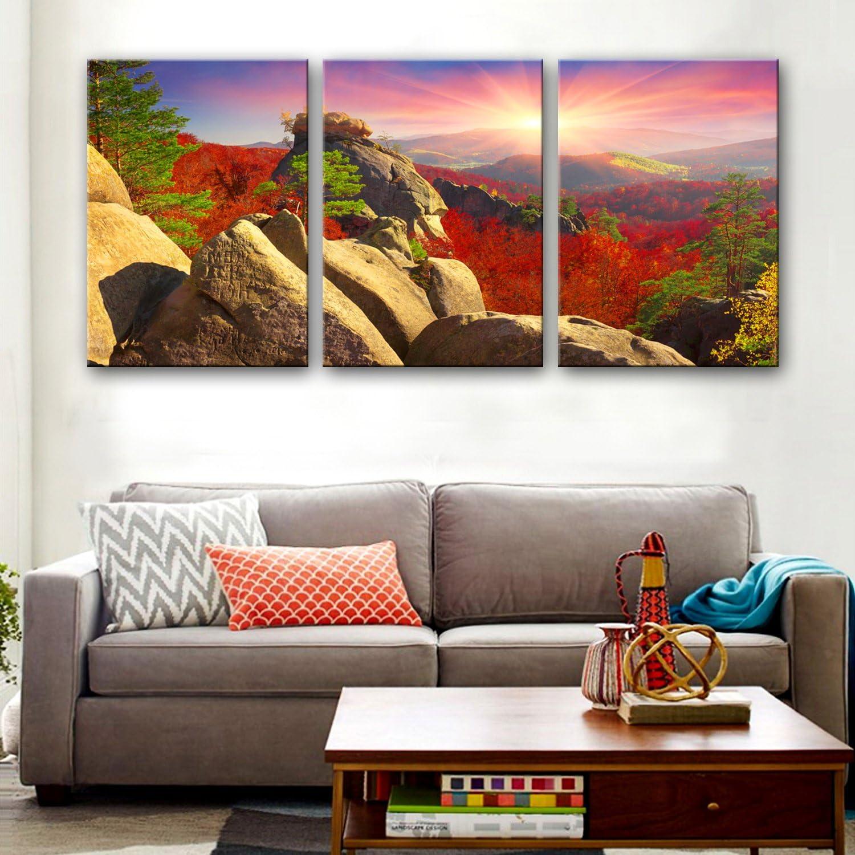 WG Berglandschaft dekorative Malerei Set, rahmenlose Gemälde, Wohnzimmer Gang dekorative Malerei, 35  50  3 B07KN32S2J  | Ausreichende Versorgung
