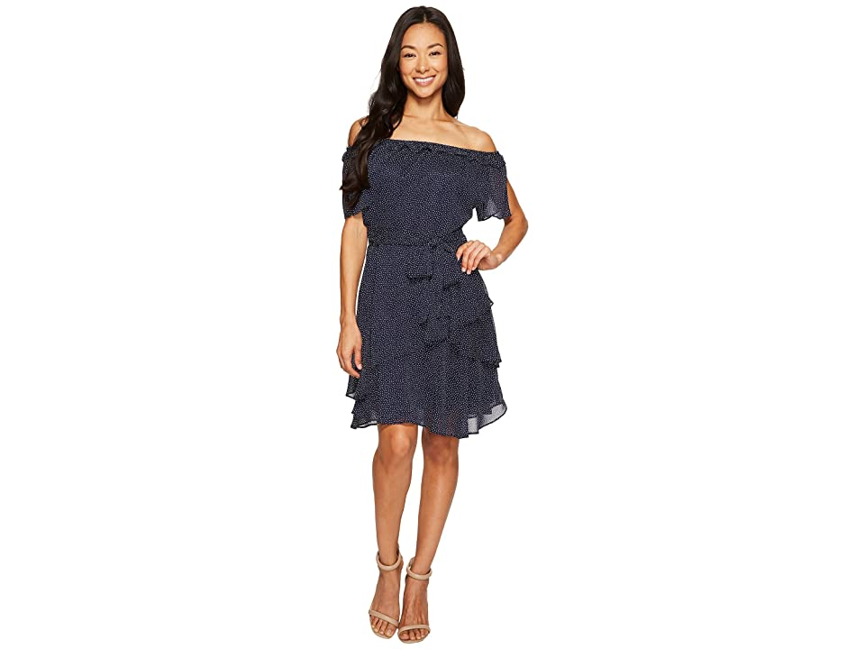 Tahari by ASL Petite Pindot Chiffon Dress (Navy/White) Women