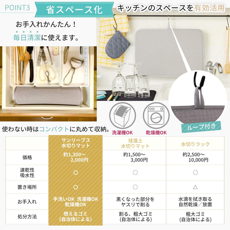 Amazon.co.jp: 水切りマット 抗菌 吸水速乾マット 食器乾燥マット ...
