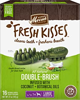 Merrick Fresh Kisses Double-Brush Coconut+Botanical Oils Grain Free Dental Dog Treats
