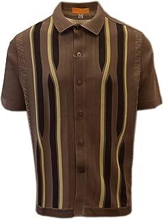 Edition S Men's Short Sleeve Knit Shirt - California Rockabilly Style: Swirly Jacquard