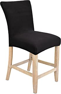 Internet's Best Dining Room Chair Cover | Set of 4 | Stretch Slipover Chair Protectors | Elastic Covers | Black
