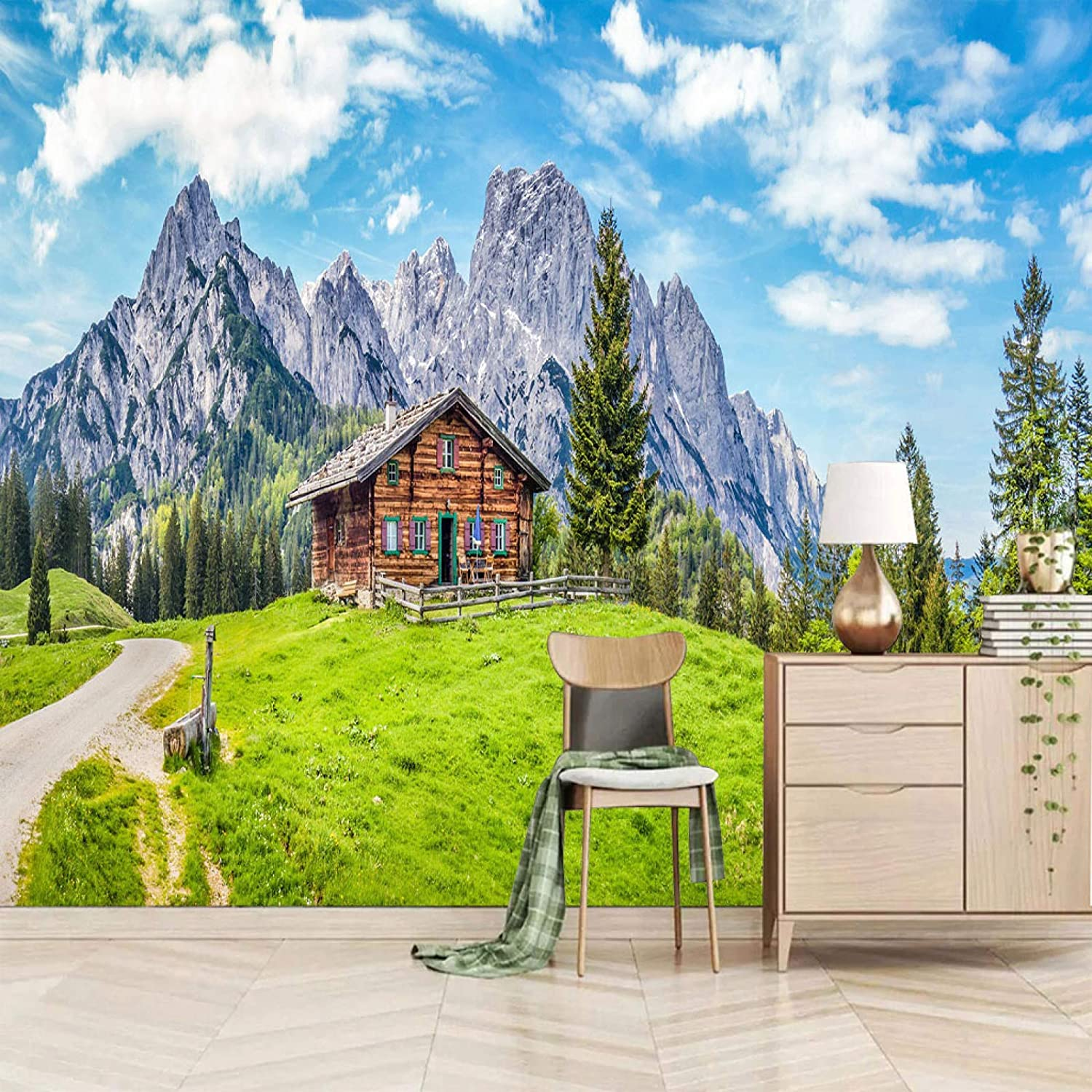 XiaoCha Mountains Green Sale item Grass Los Angeles Mall Houses Stick Self-Adhesive 3D Wall