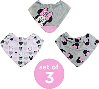Disney Neat Solutions Minnie Mouse 3 Pack Infant Scarf Bib with Teether, Grey Heather