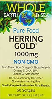 Whole Earth & Sea from Natural Factors, Herring Gold 1000 mg, Whole Food Fish Oil Supplement, Non-GMO, 60 softgels (60 Ser...
