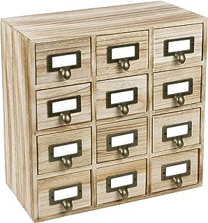 "$39 » Ikee Design Wooden Storage Apothecary Drawer Desktop Organizer with Metal Label Holders Desktop Organizer, 12 Drawers, Oak Color, 12 1/2""W x 6 5/8""D x 12 7/8""H"