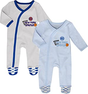 Outerstuff NBA New York Knicks Newborn B-Ball Best 2 Piece Coverall Set, 3-6 Months, Cool Grey