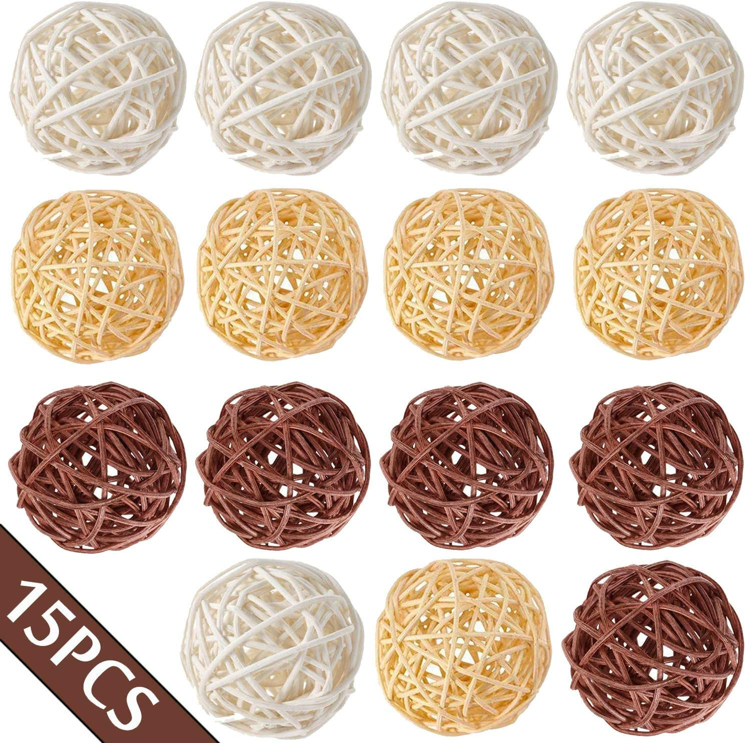 Worldoor 15pcs Wicker Rattan Balls Max 67% OFF Spherical Nat Decorative Orbs Free shipping anywhere in the nation