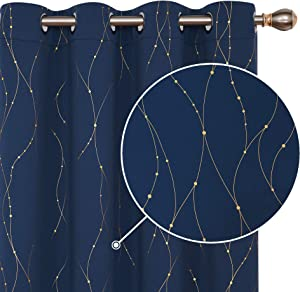 Deconovo Decorative Silver Gold Dotted Line Foil Printed Blackout Curtains Thermal Insulated Curtains Eyelet Curtains for Baby Nursery with 46 x 72 Inch Navy Blue Two Panels