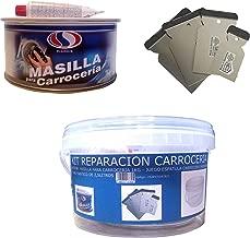 KIT REPARACION CARROCERIA (MASILLA PARA CARROCERÍA 1 KG + JUEGO ESPATULA CARROCERO INOXIDABLE + CUBO PLASTICO 2,5 LITROS)