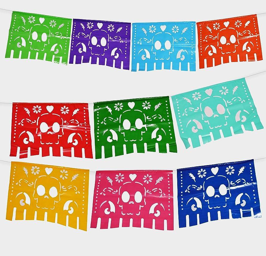 Fiesta Brands 2 Pack Plastic Mexican .Colors for The Dead Papel Picado Banner.Vibrant Colors on Plastic. Large Size Panels. Multicolored Dia de Los Muertos Sugar Skull Decoration Unique Design