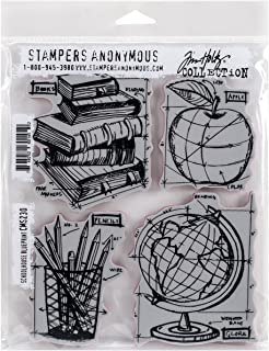 """Tim Holtz Cling Stamps 7""""X8.5""""-Schoolhouse Blueprint (Pack of 1)"""