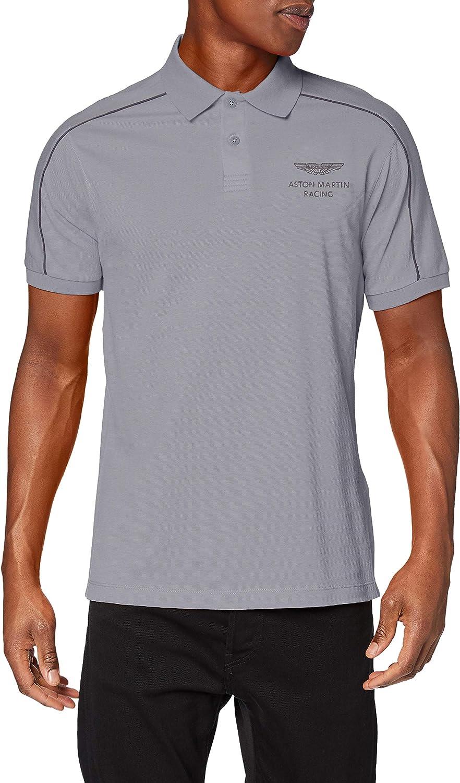 Hackett Men's Slim Fit Shoulder Trim Polo Shirt Gray