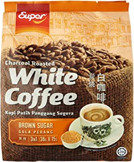 Super Brand / Charcoal Roasted White Coffee With Brown Sugar / Caramelic Coffee Indulgence / Strong Rich Flavorful Caramel With Brown Sugar (15s x 36g)