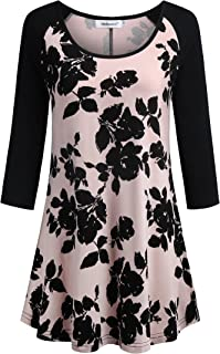 Helloacc Scoop Neck Floral Tunic Tops for Women 3/4 Sleeve Blouses Long Shirts