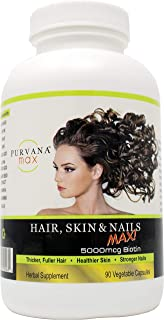Wellgenix Purvana Max Hair, Skin, and Nails Vitamin Capsules, Double Strength Biotin 5000 MCG, Fo-Ti Root, VIT A & B, Foli...