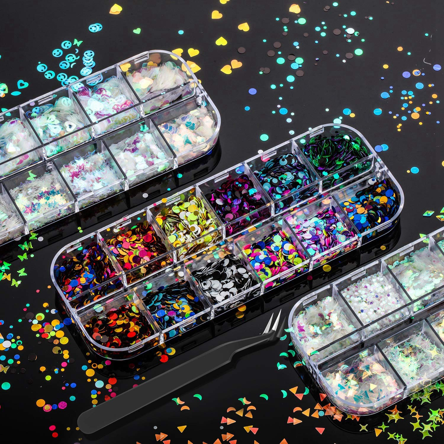 36 Boxes Holographic Nail Art F We OFFer at cheap prices Louisville-Jefferson County Mall Sequins Iridescent Glitter Nails