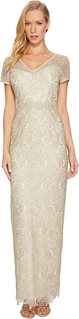 Short Sleeve V-Neck Long Metallic Lace Gown