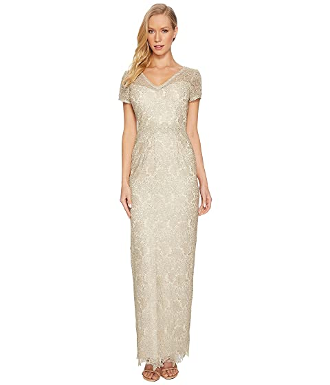 cb93bf7c224 Adrianna Papell Short Sleeve V-Neck Long Metallic Lace Gown at 6pm