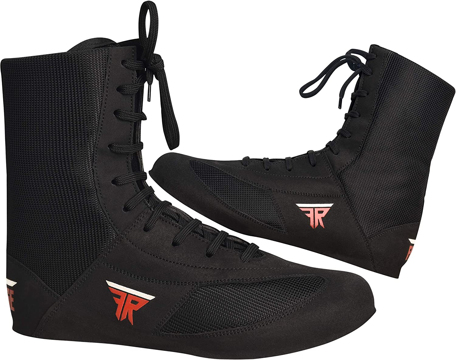 Black Color Boxing Shoes for Adults FISTRGE Leather High Top Kick Boxing Shoes Fighting Sports Master Training Mesh Unisex Pro Mens and Youth Genuine Boot Light Weight