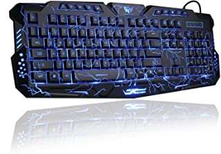 Gaming Keyboard, Womail 3 Colors USB Illuminated Led Backlit Backlight Crack Keyboard M200 PC