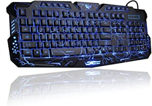 eWINNER Gaming Keyboard, Womail 3 Colors USB Illuminated Led Backlit Backlight Crack Keyboard M200 PC