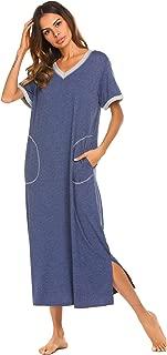 Loungewear Long Nightgown Women's Ultra-Soft Nightshirt Full Length Sleepwear with Pocket