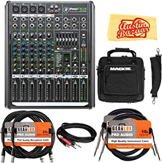 Mackie ProFX8v2 8-Channel Professional Effects Mixer Bundle with Gig Bag, XLR Cable, Instrument Cable, Stereo Breakout Cable, and Austin Bazaar Polishing Cloth