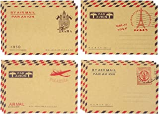Honbay 40PCS 11x16.2cm/4.33x6.38inch AirMail Vintage Kraft Paper Envelopes for Postcards, Letters, Notes, Weddings, Parties, Holiday, Banquets, Showers, Birthday, Anniversary, etc