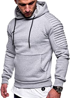 Johoproce Men's Slim Fit Pleated Raglan Sleeve Stripe Hoodies Long Solid Color Sleeve Top Pullover Sweater